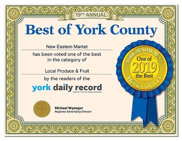 New Eastern Market 2019 Bet of York County Award